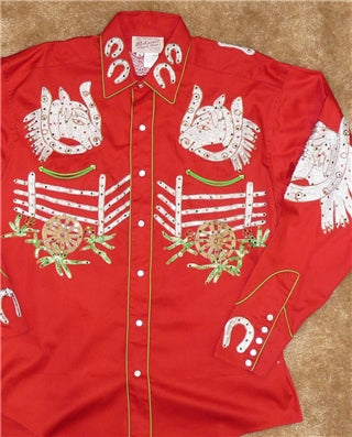 Men's Black Vintage Hops Embroidered Western Shirt