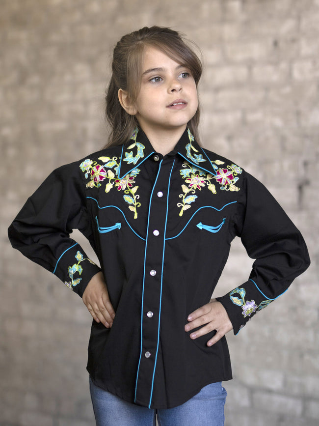 Kid's Floral Embroidered Shirt - Rockmount