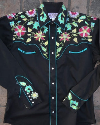 Kid's Brown Vintage Embroidered Western Shirt
