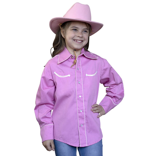 Kid's Embroidered Smile Pocket Pink Western Shirt