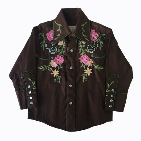Kid's Brown & Turquoise Embroidered Vintage Western Shirt