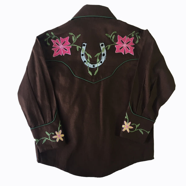 Kid's Embroidered Floral Western Shirt in Brown