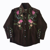 Kid's Embroidered Floral Western Shirt in Brown - Rockmount