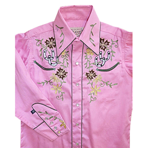 Kid's Embroidered Floral with Lucky Horseshoes Western Shirt in Pink