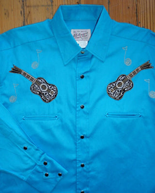 Men's Blue Horseshoes Embroidered Western Shirt