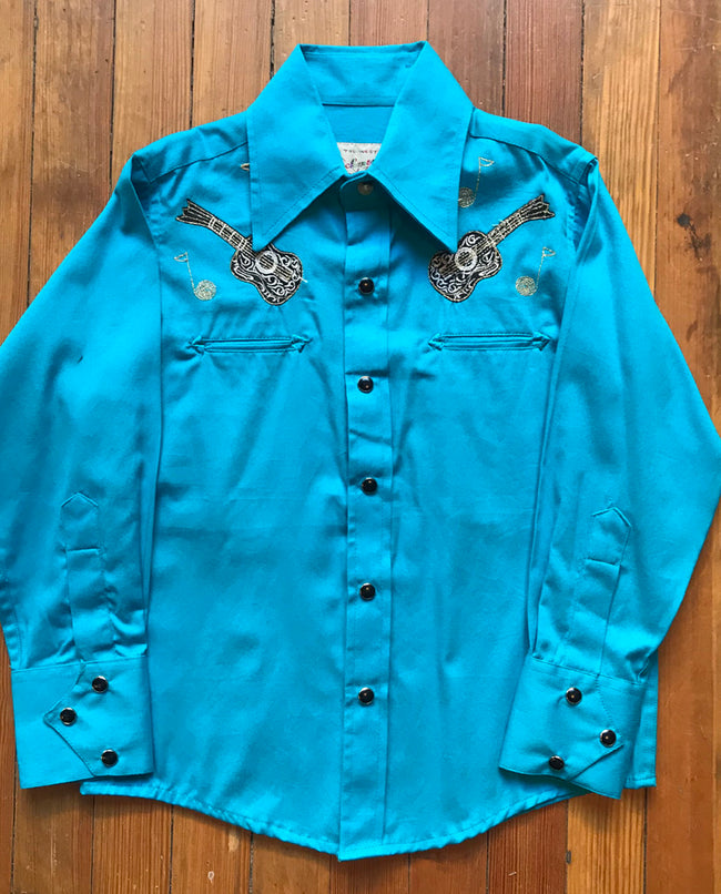 Kid's Embroidered Vintage Guitar Turquoise Western Shirt