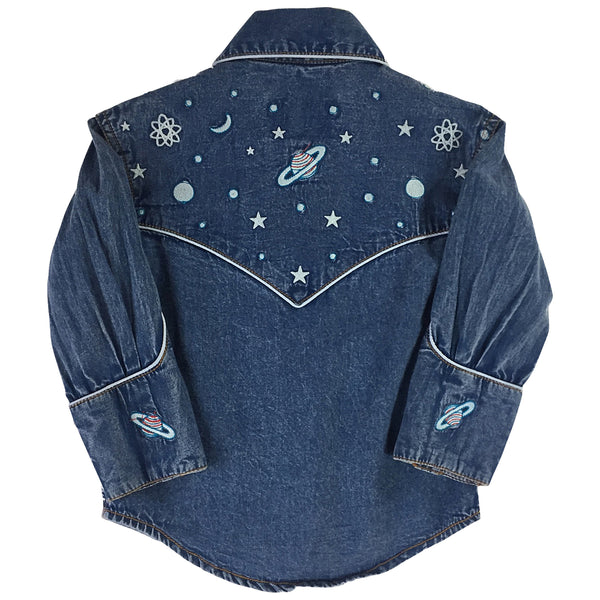 Kid's Embroidered Out of This World Denim Western Shirt