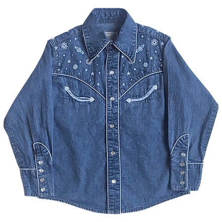 Men's Stonewashed Denim Classic Western Shirt