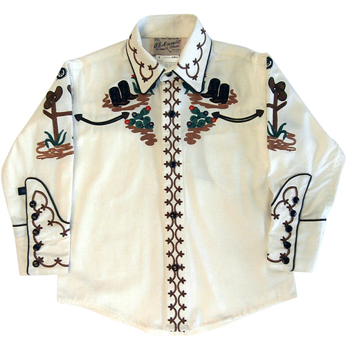 Kid's Cactus & Cowboy Boots Embroidered Western Shirt in Ivory