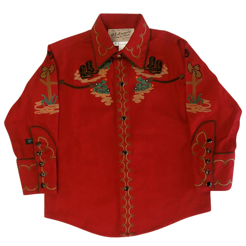 Kid's Cactus & Cowboy Boots Embroidered Western Shirt in Red