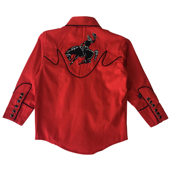 Kid's Embroidered Vintage Bronc Red Western Shirt