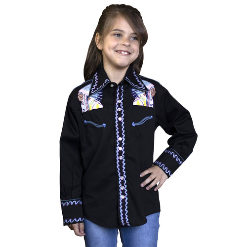 Kid's Embroidered Vintage Native Chief Western Shirt