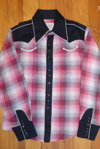 Kid's Red & Black 2-Tone Plaid Western Shirt