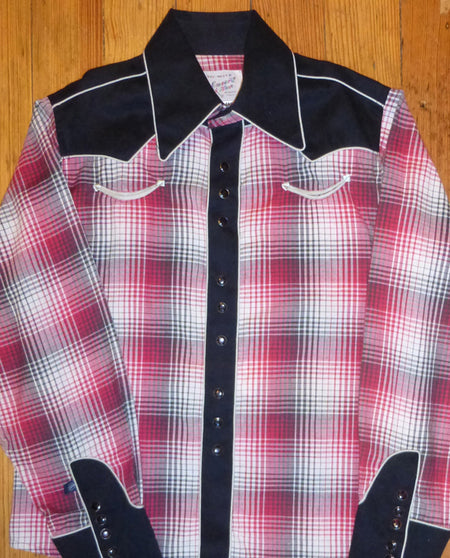 Kid's Plaid Black Eyelet Shirt