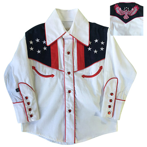 Kid's Embroidered Vintage USA Flag & Eagle Western Shirt
