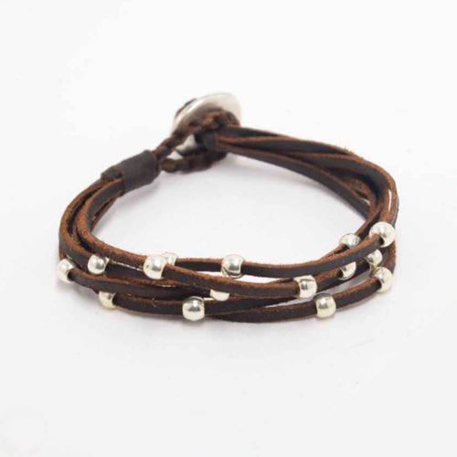 Leather 5-strand Bracelet with Silver Beads - Rockmount