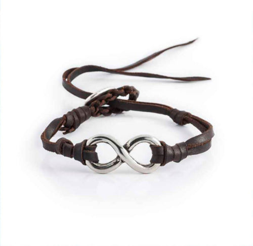 Silver 8 Leather Bracelet - Rockmount