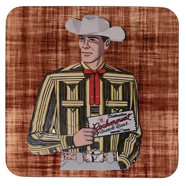 Vintage Cowboy Striped Yellow Shirt Western Cork-Backed Coaster