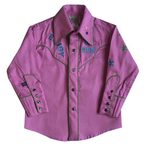 Kid's Embroidered Bronc Enjoy the Ride Pink Western Shirt