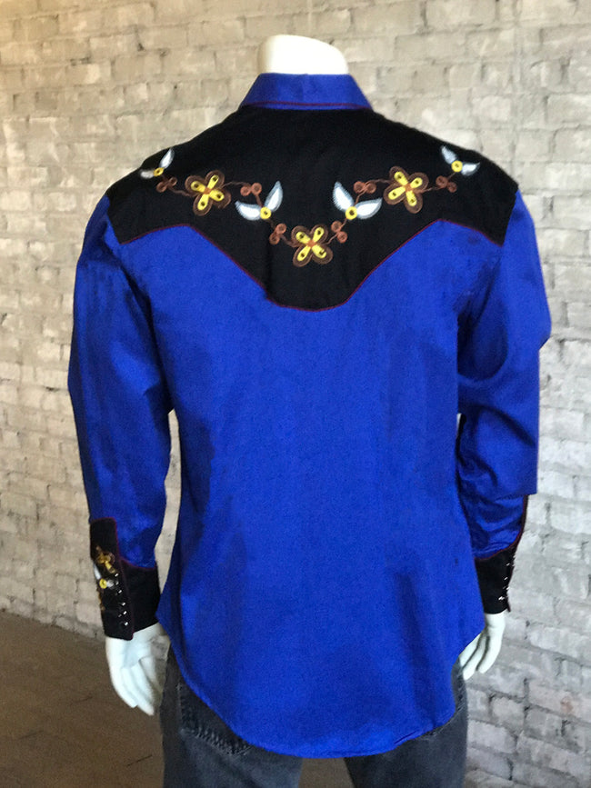 Men's John Denver Vintage 2 Tone Western Shirt in Royal/Black - Rockmount