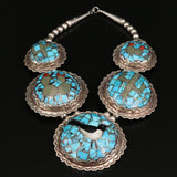 Navajo Inlaid Sterling & Turquoise Bird Necklace