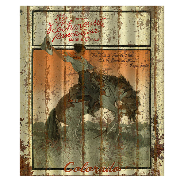 Cowgirl Bronc Corrugated Distressed Metal Western Sign