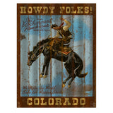 Howdy Folks Corrugated Distressed Metal Western Sign