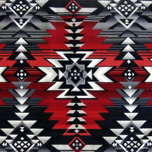 Native Print Oversized Cotton Bandana in Black & Red