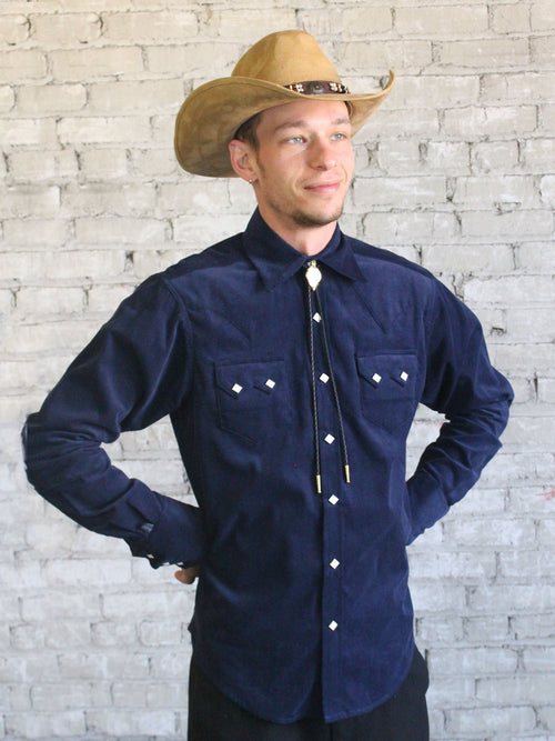 Men's Slim Fit Navy Corduroy Western Shirt - Rockmount