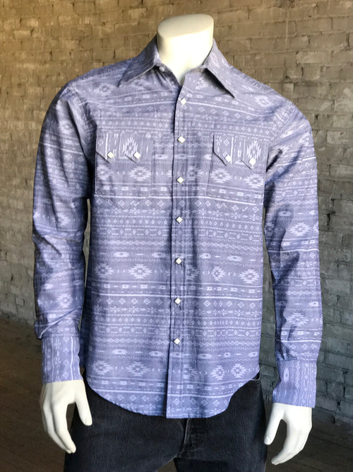 Men's Slim Fit Chambray Jacquard Western Shirt - Rockmount
