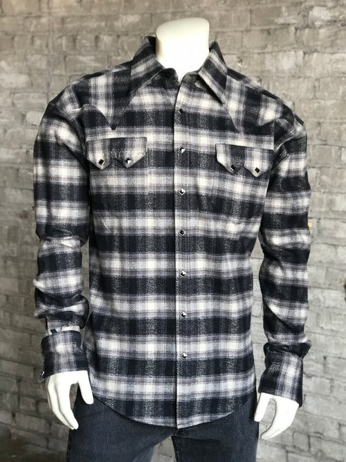 Men's Slim Fit Plush Flannel Plaid Western Shirt - Rockmount