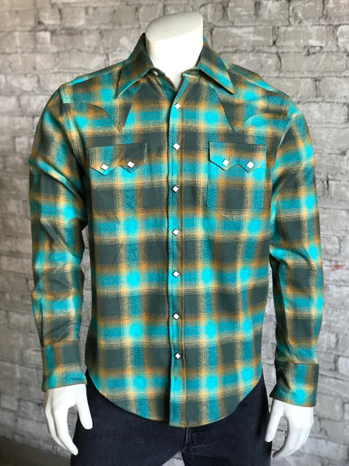 Rockmount Men's Slim Fit Plush Flannel Green Plaid Western Shirt - Rockmount