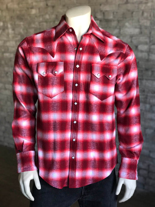 Men's Slim Fit Plush Flannel Red Plaid Western Shirt - Rockmount