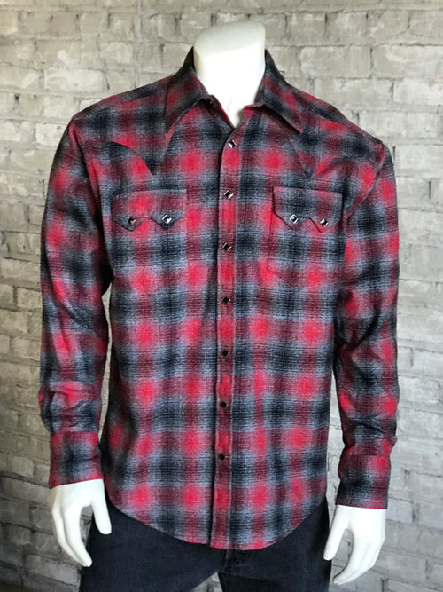 Rockmount Men's Slim Fit Plush Flannel Plaid Western Shirt in Red & Grey - Rockmount