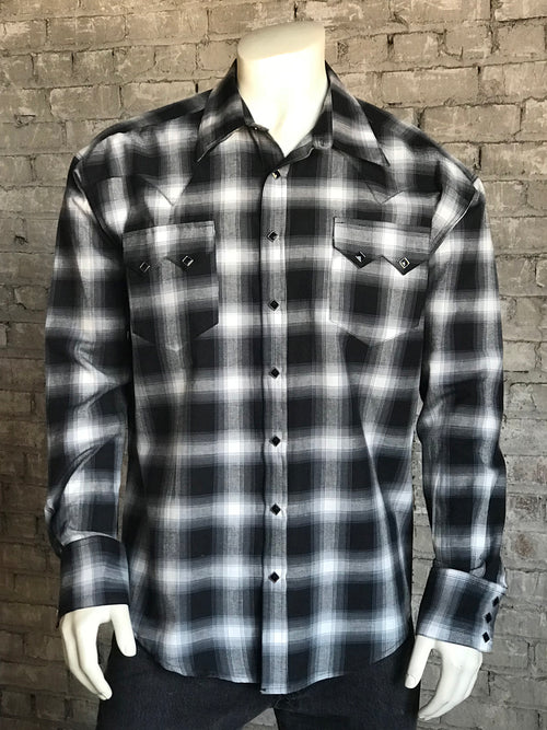Men's Slim Fit Shadow Plaid Cotton Western Shirt - Rockmount
