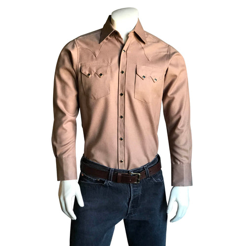 Men's Slim Fit 100% Wool Western Shirt in Camel