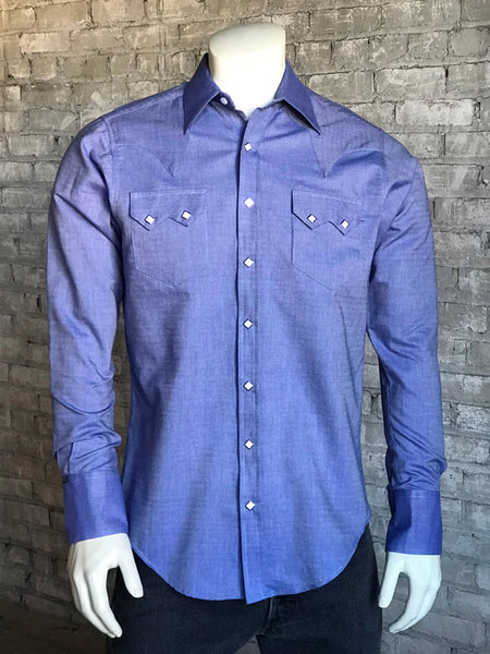 Men's Cotton Herringbone Western Shirt in Blue