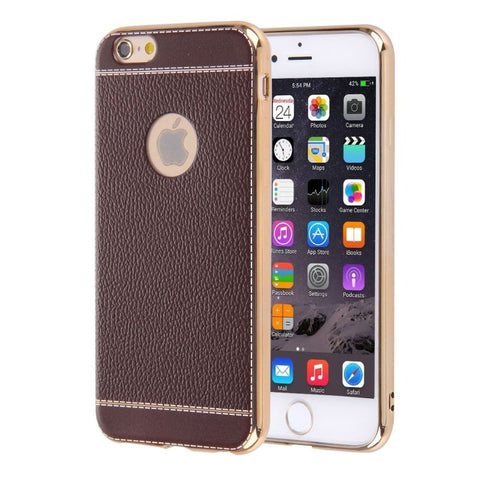 Iphone 7 6 6S SE 5S 5 - Litchi Grain Luxury Plating Soft Silicone Phone Case
