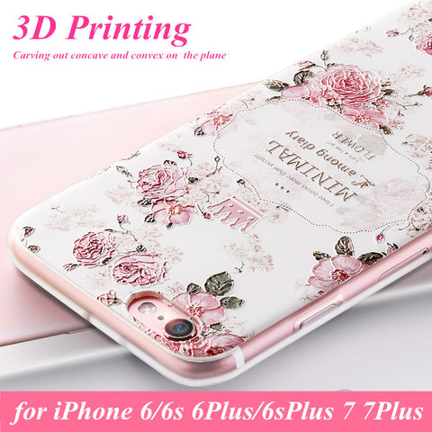 iPhone 5 5s 6s 7 Plus  - WeiFaJK 3D Flower Soft Silicone