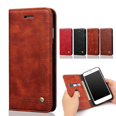 iPhone 6 6S Plus 5 5S 7 - Luxury Leather Wallet Phone Case Flip Cover