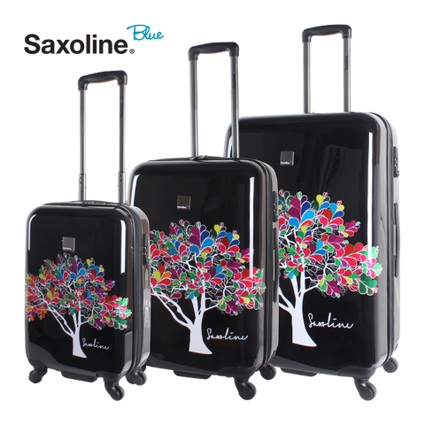 Saxoline blue hard luggage set of 3 pieces with magic tree print