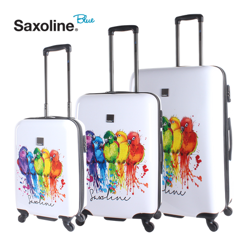 Saxoline Blue hard luggage set with parrot print | HK