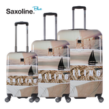 Saxoline Blue Cases with 4 double wheels luggageandbagsstore