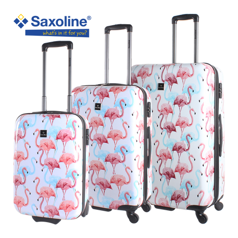 printed hard suitcases set Saxoline with flamingos