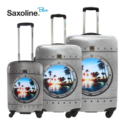 Saxoline Blue trolley set of 3 pieces porthole print | HK