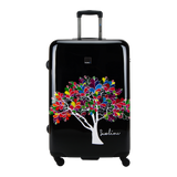 Hard luggage Saxoline blue with Magic tree print