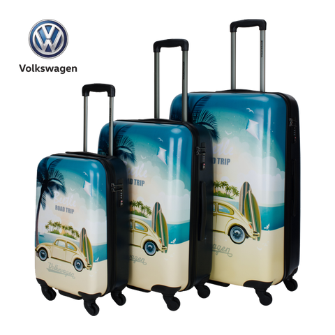 Printed hard luggage set with VW beetle