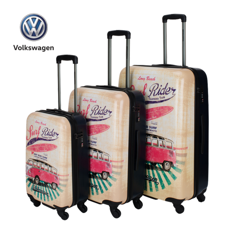 VW hard luggage with VW bus print