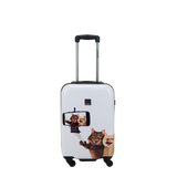 Saxoline Blue hard luggage small with Selfie print