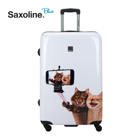 Saxoline blue hard case with selfie print | luggageandbagsstore